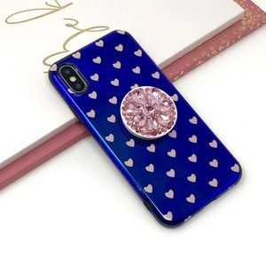 Accessories - iPhone Blue Polka Hearts Case w/Pop Grip
